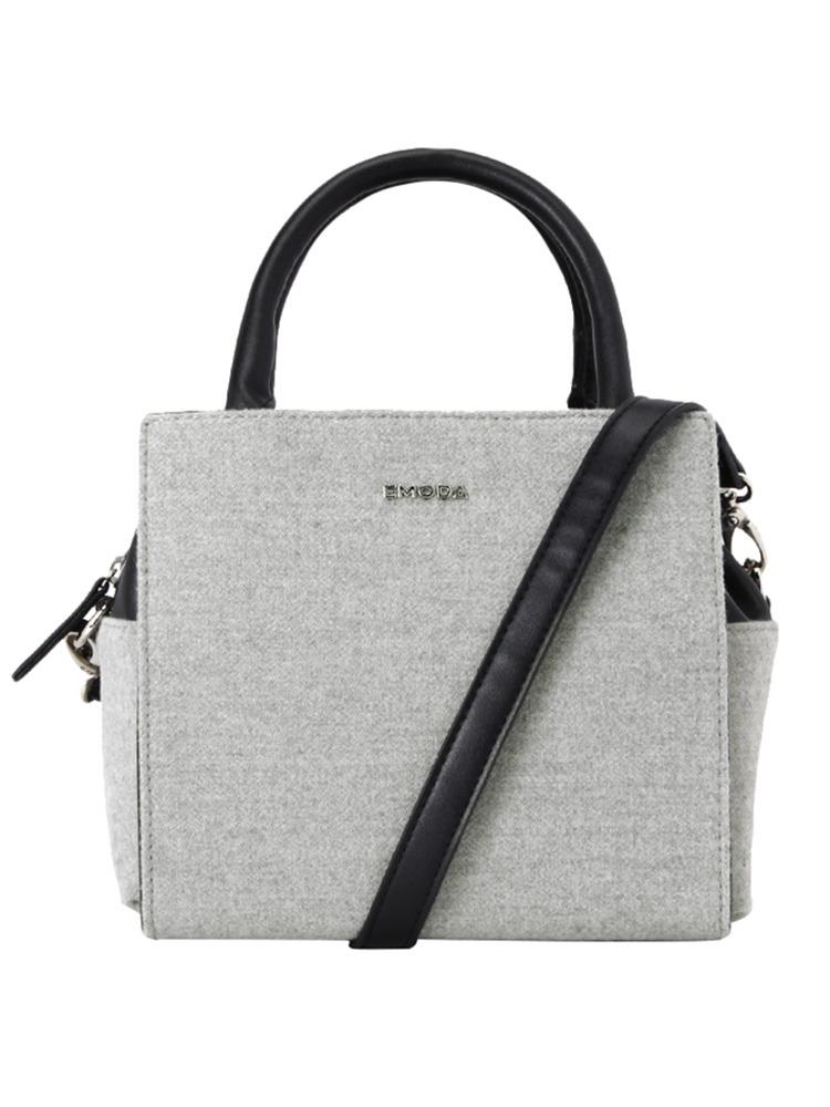 ウールBOXY BAG(グレー-F)