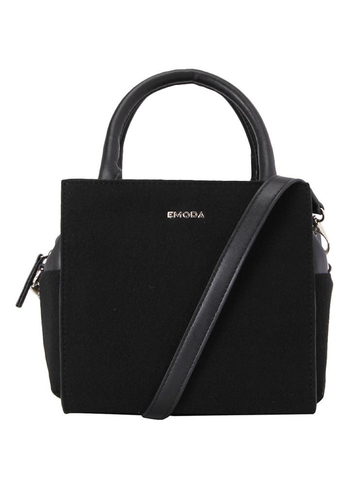 ウールBOXY BAG(ブラック-F)