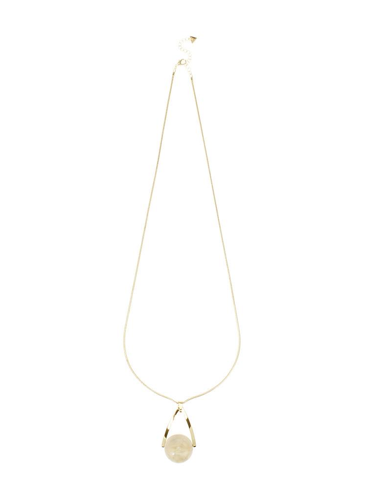 Drop marble longネックレス(ホワイト-F)