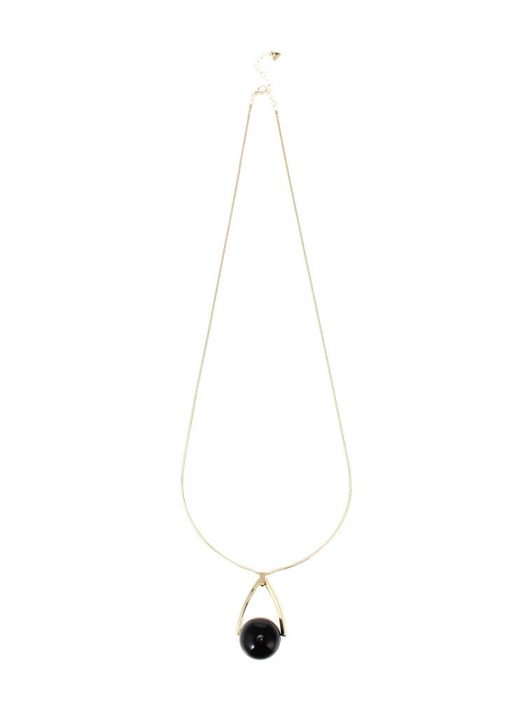 Drop marble longネックレス(ブラック-F)