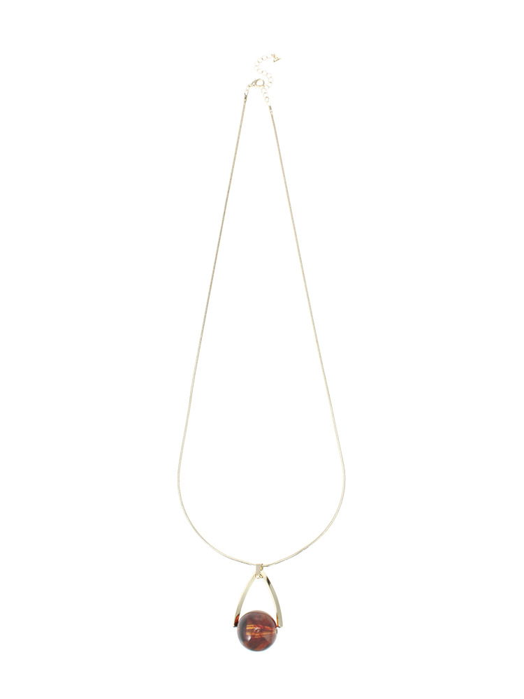 Drop marble longネックレス(ブラウン-F)