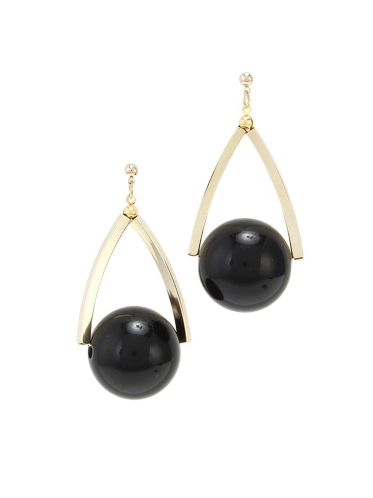 Drop marbleピアス(ブラック-F)