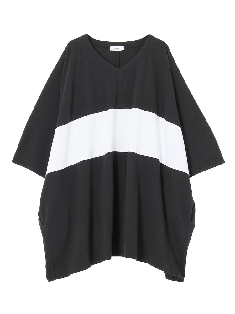 【SHARED】LINE PONCHOプルオーバー(ブラック-1)