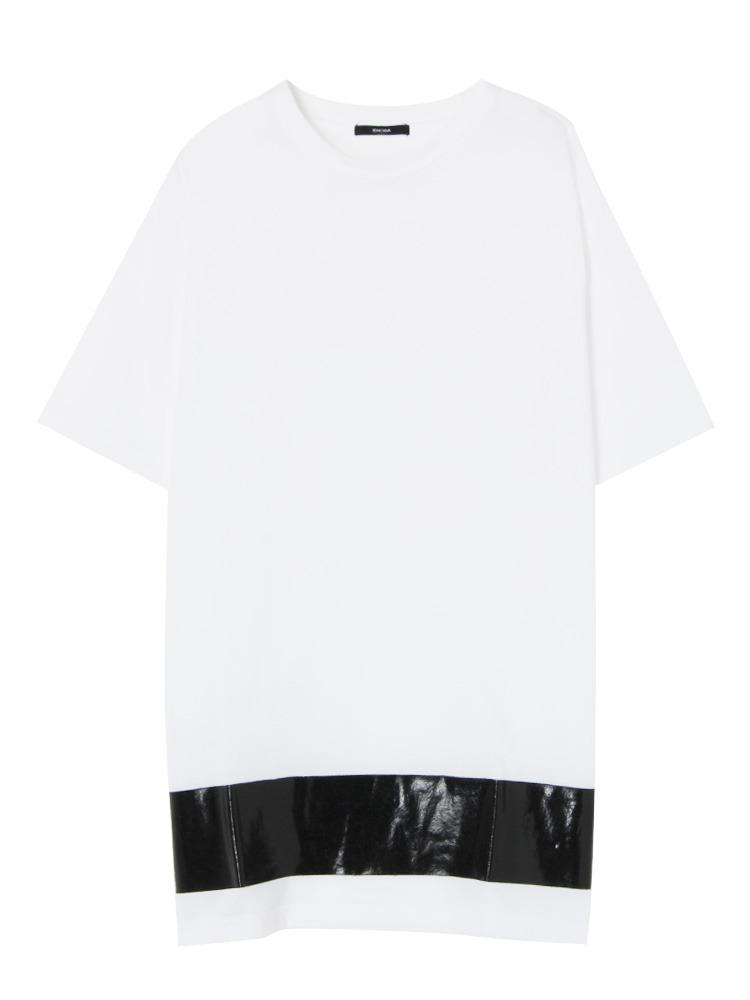 Hem print Tシャツ(ホワイト-F)