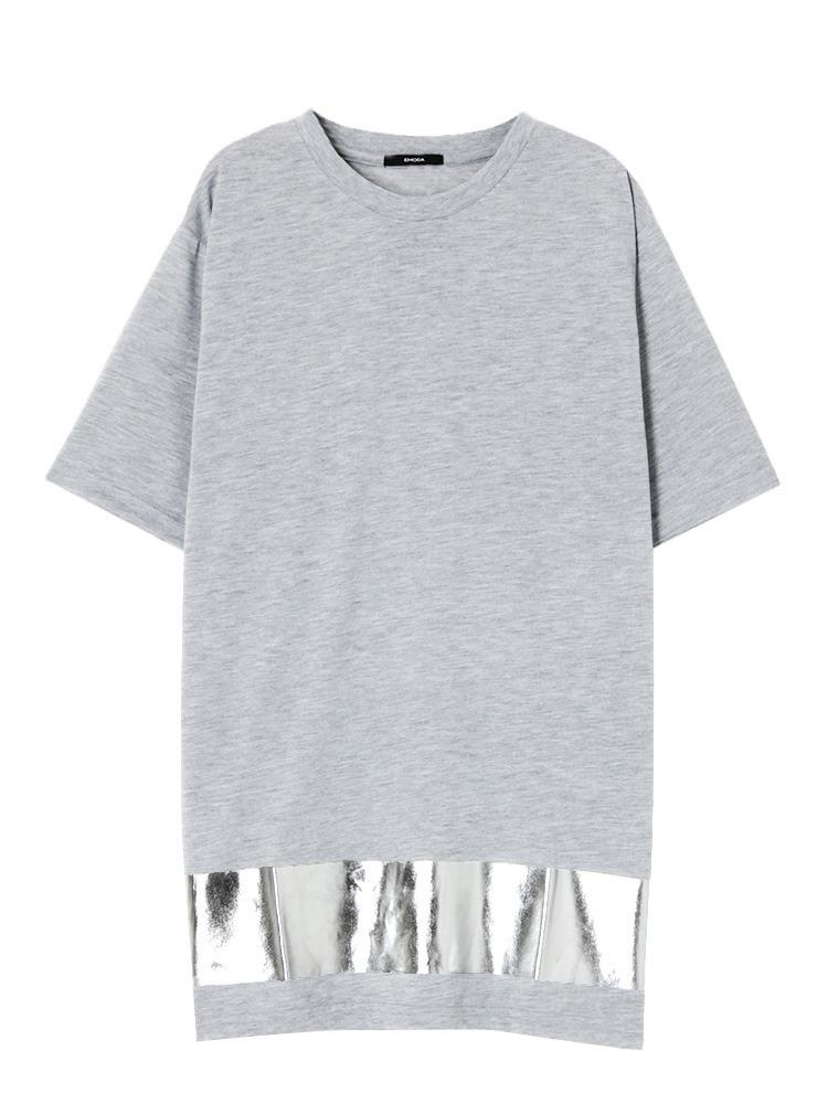 Hem print Tシャツ(グレー-F)