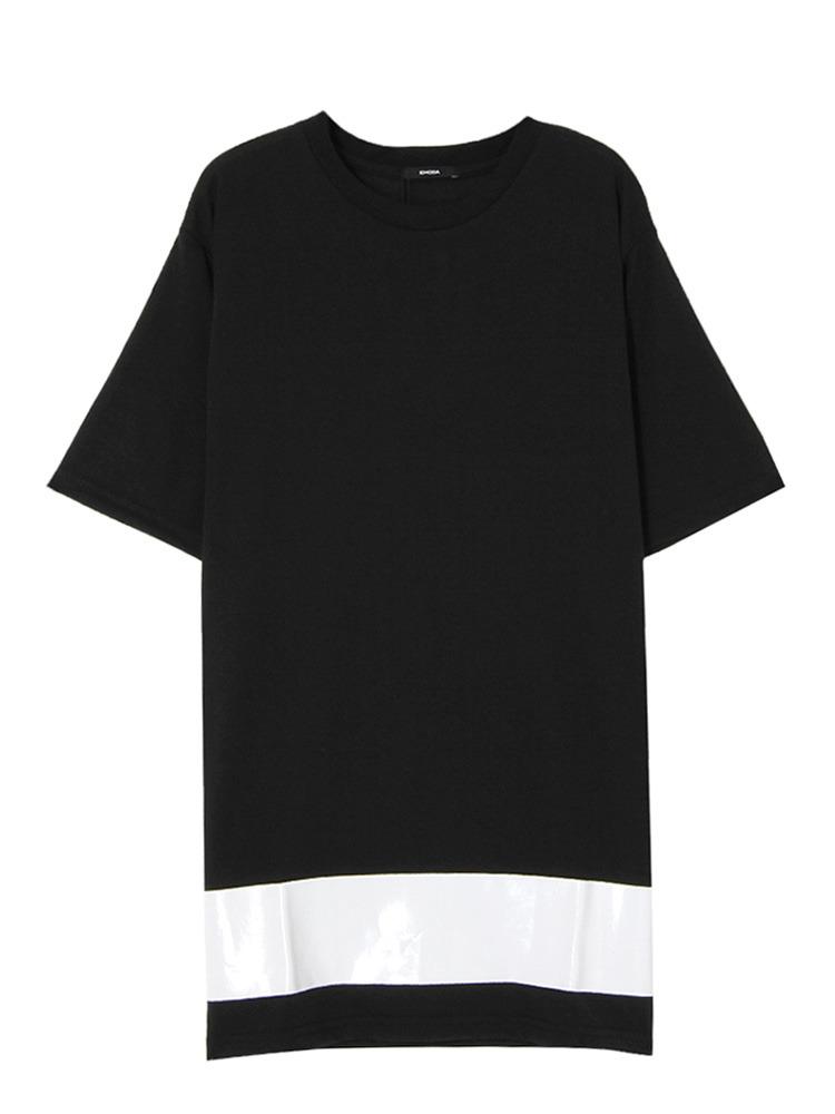 Hem print Tシャツ(ブラック-F)