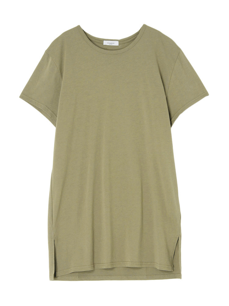 【SHARED】LONG LENGTH SQUARE Tシャツ(カーキ-1)