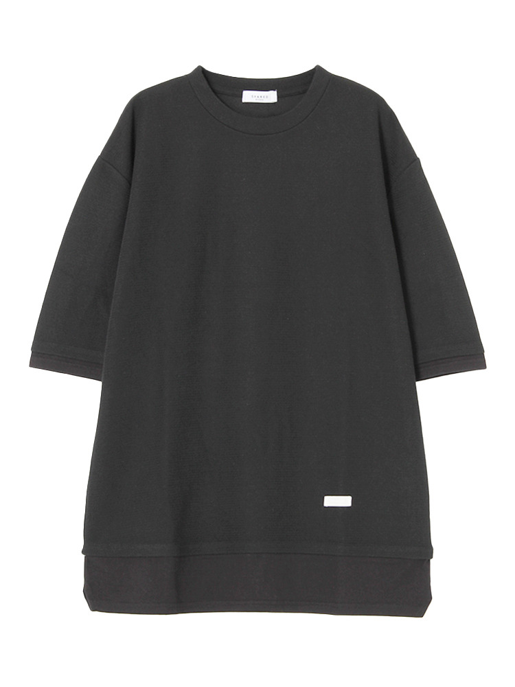【SHARED】FAKE LAYERED HALF SLEEVETシャツ(ブラック-1)