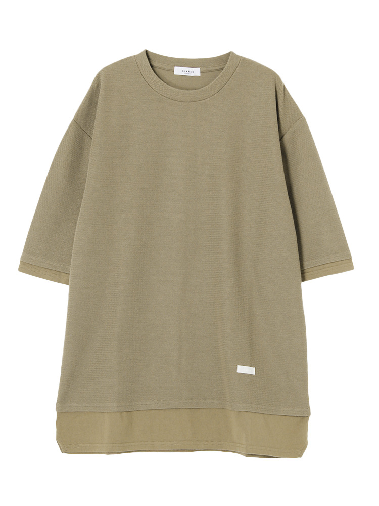 【SHARED】FAKE LAYERED HALF SLEEVETシャツ(ベージュ-1)