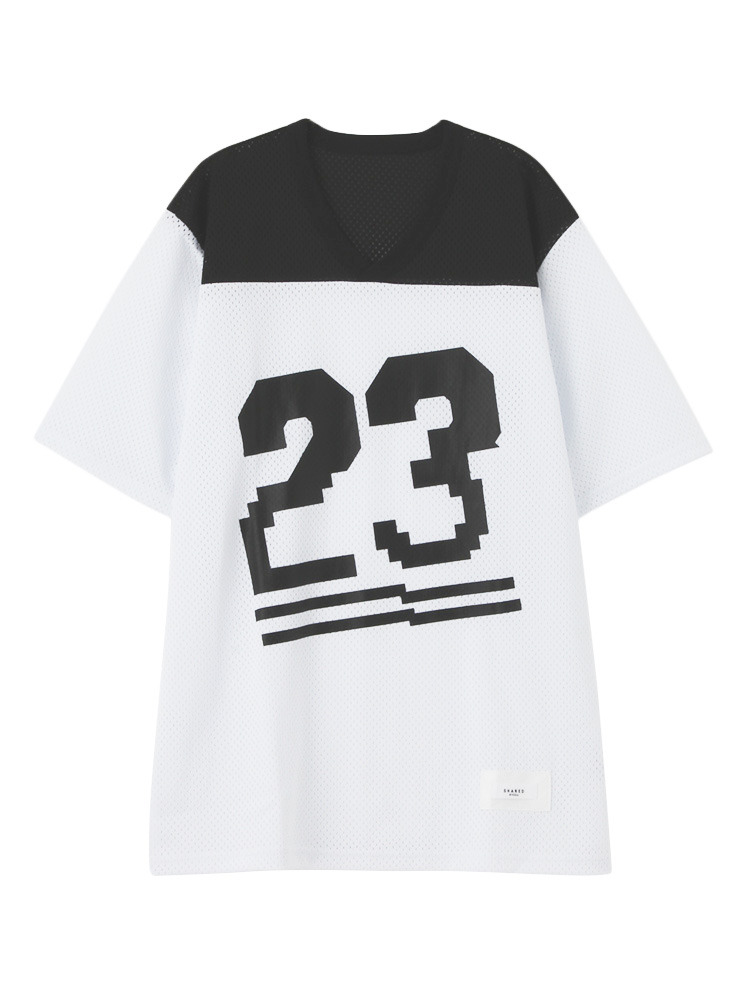 【SHARED】NUMBER MESH Tシャツ(ホワイト-1)