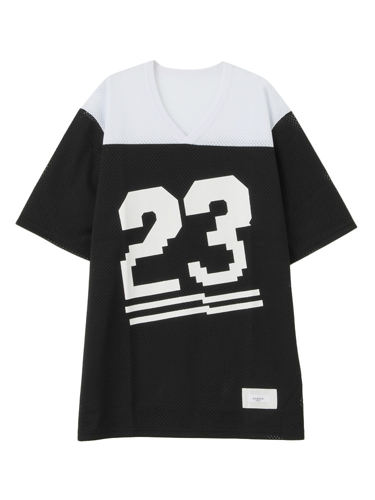 【SHARED】NUMBER MESH Tシャツ(ブラック-1)
