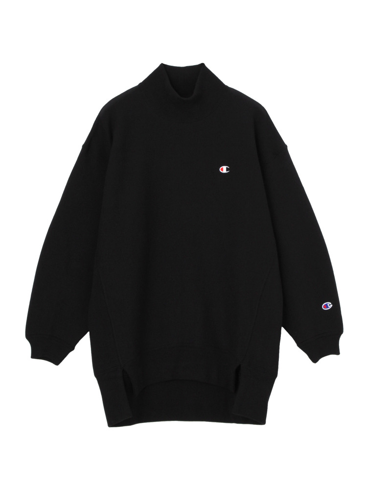 EMODA×Champion REVERSE WEAVE HIGH NECK LONG トップス(ブラック-F)