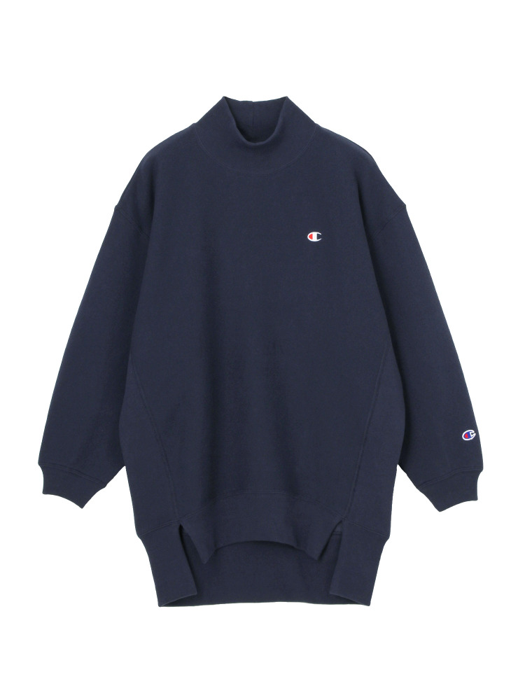 EMODA×Champion REVERSE WEAVE HIGH NECK LONG トップス(ネイビー-F)