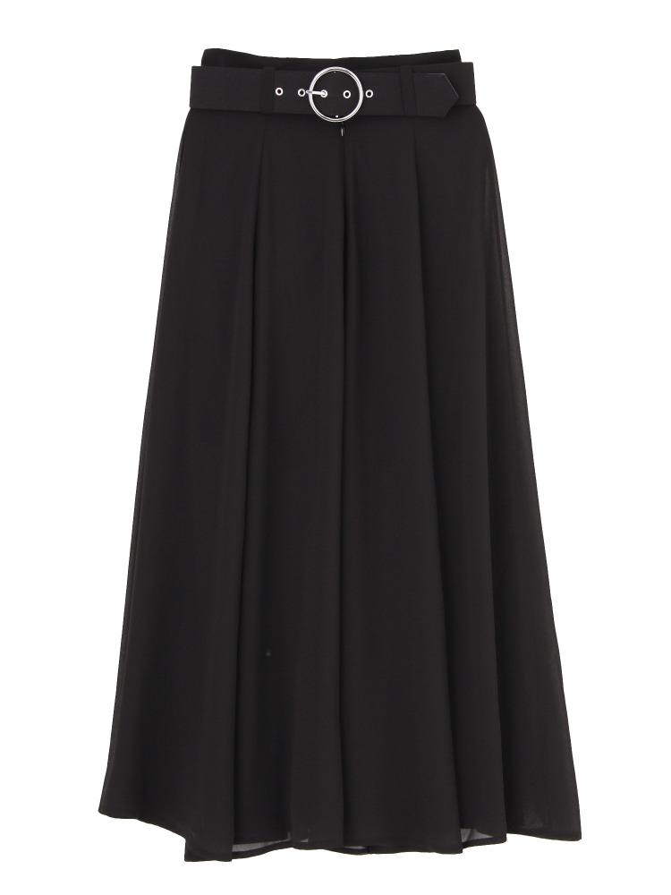 MAXI SLITフレアスカート(ブラック-S)