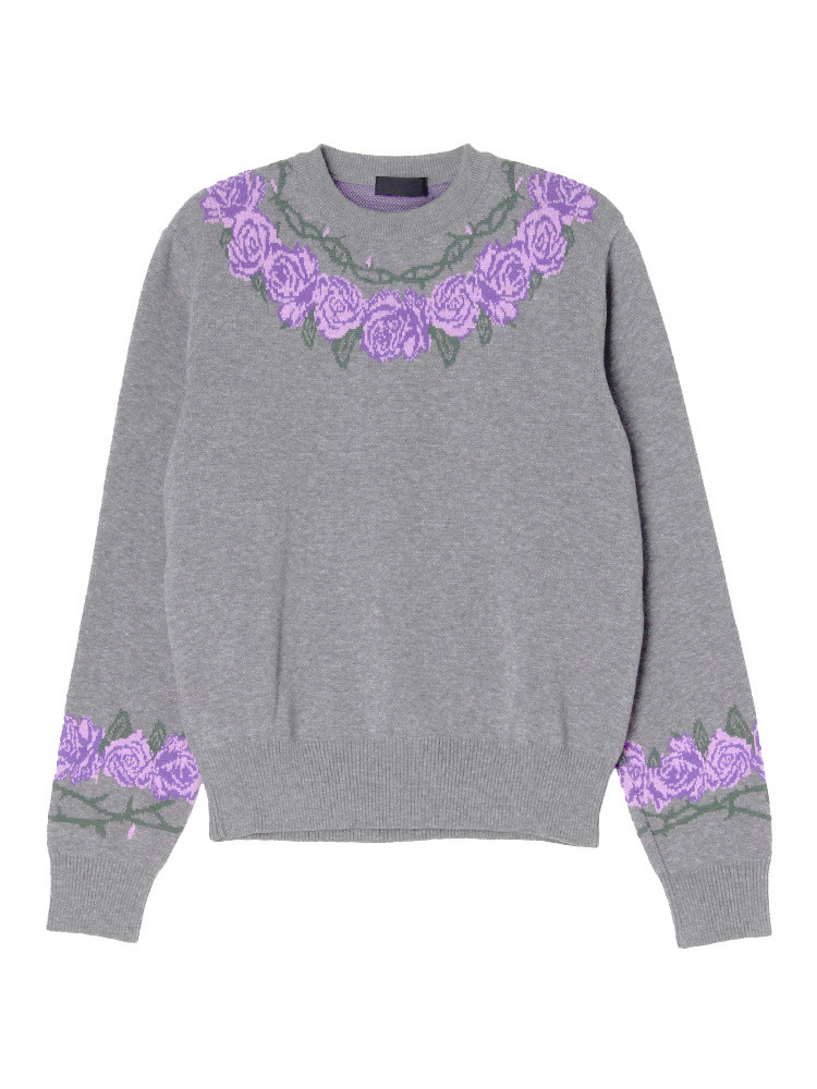 THORN AND ROSES JACQUARD CREW NECK JUMPE(グレー-XS)