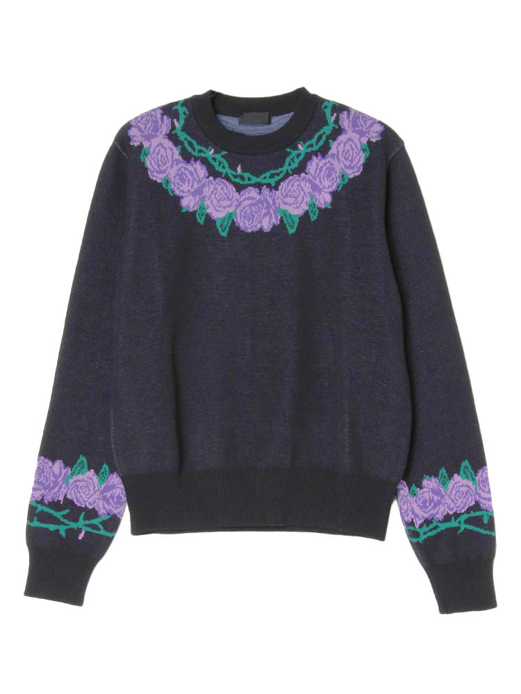 THORN AND ROSES JACQUARD CREW NECK JUMPE(ブラック-XS)