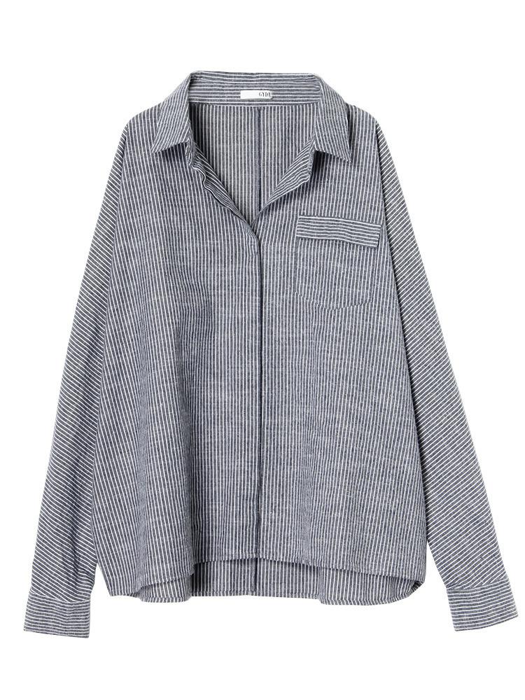 ストライプオーバーシャツ(ネイビー-F)
