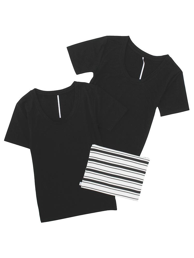 タイトUネックTシャツ SET(ブラック-F)