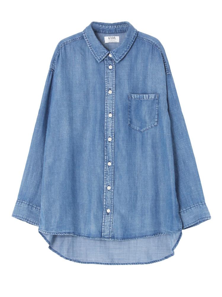 ブリーチテンセルシャツ(ブルー-F)