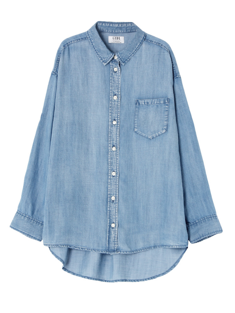 ブリーチテンセルシャツ(アイスブルー-F)