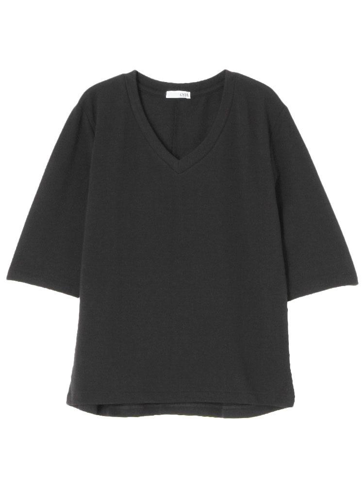 シンプルGネックTシャツ(ブラック-F)