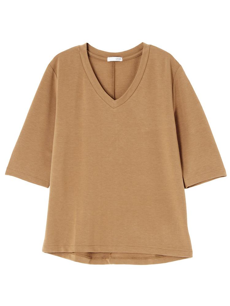 シンプルGネックTシャツ(ベージュ-F)