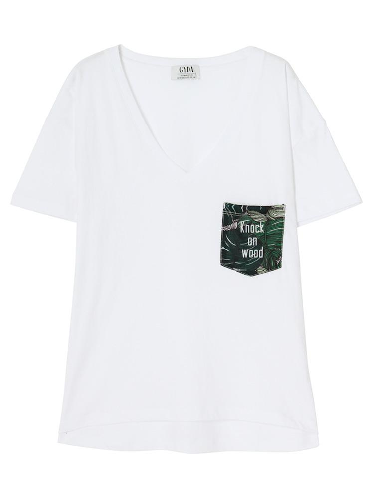 リーフポケットデザインTシャツ(グリーン-F)