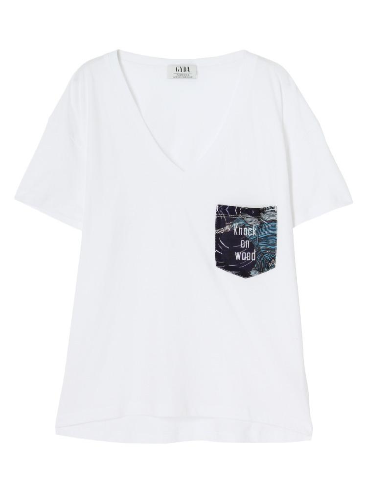 リーフポケットデザインTシャツ(ネイビー-F)