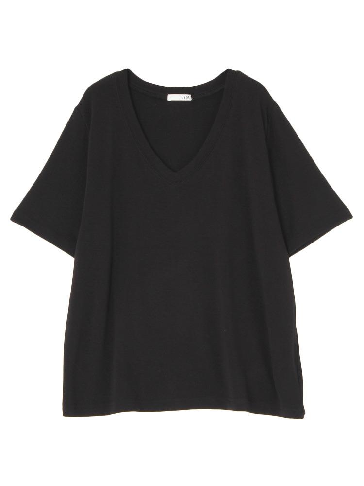 ガーゼタッチGネックTシャツ(ブラック-F)