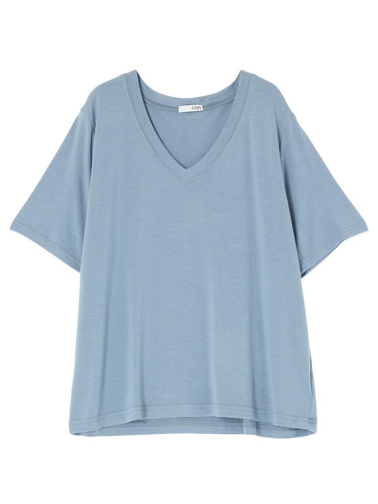 ガーゼタッチGネックTシャツ(ブルー-F)