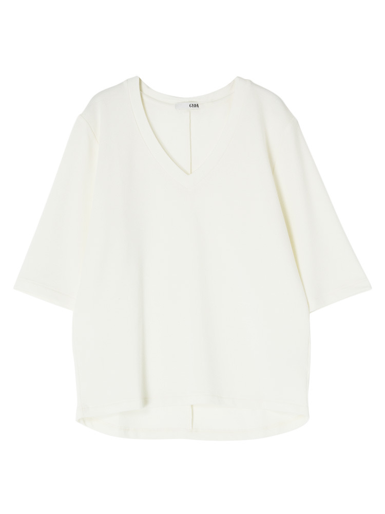 シンプルGネックTシャツ(オフホワイト-F)