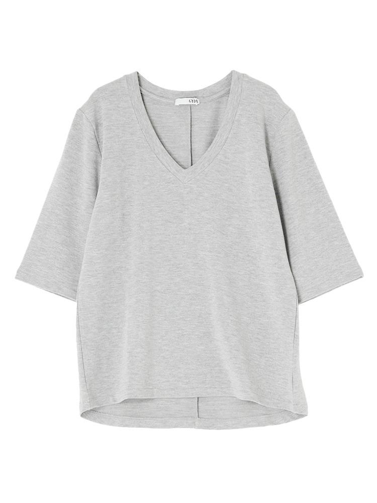 シンプルGネックTシャツ(グレー-F)