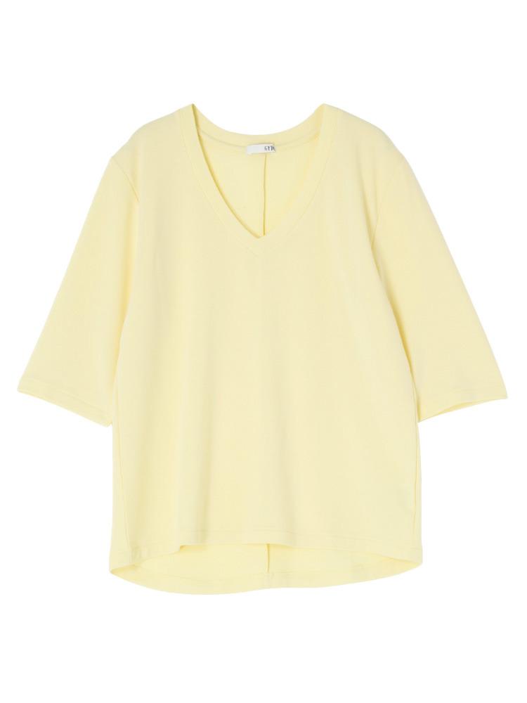 シンプルGネックTシャツ(イエロー-F)
