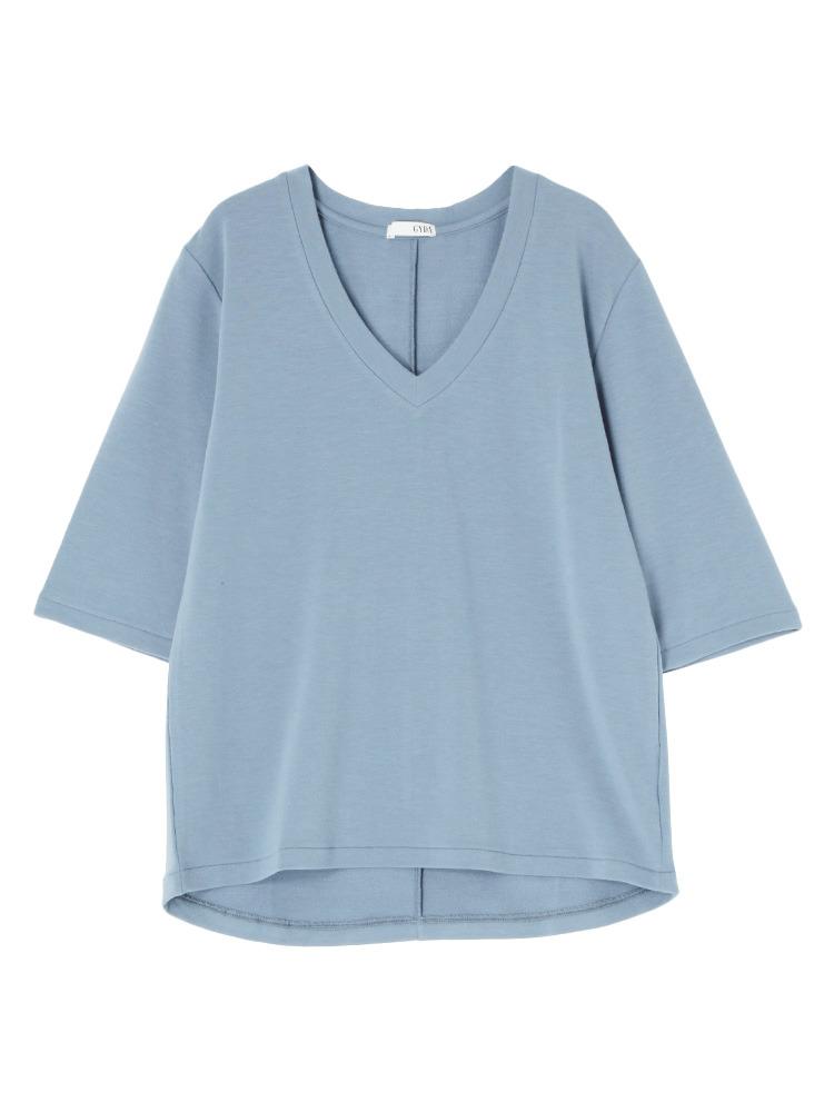 シンプルGネックTシャツ(ブルー-F)