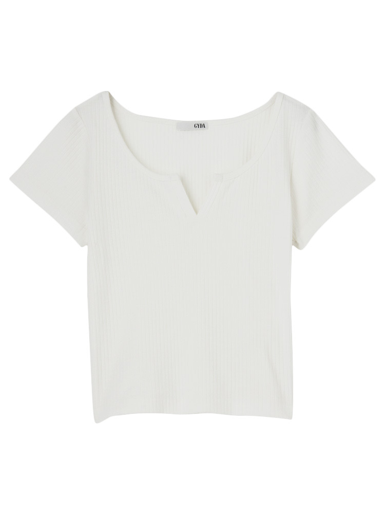 VカットTシャツ(オフホワイト-F)