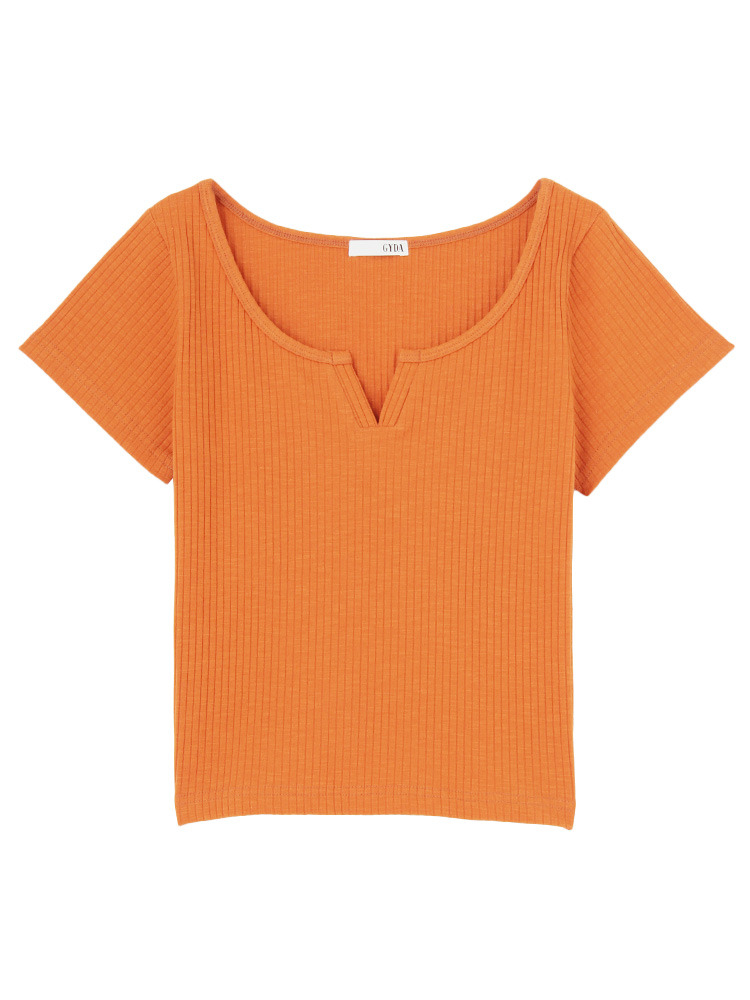 VカットTシャツ(ダークオレンジ-F)