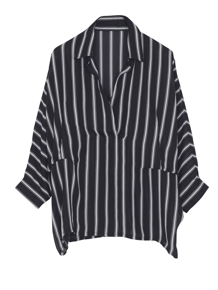【WEB限定】ストライプシフォンシャツ(ブラック-F)