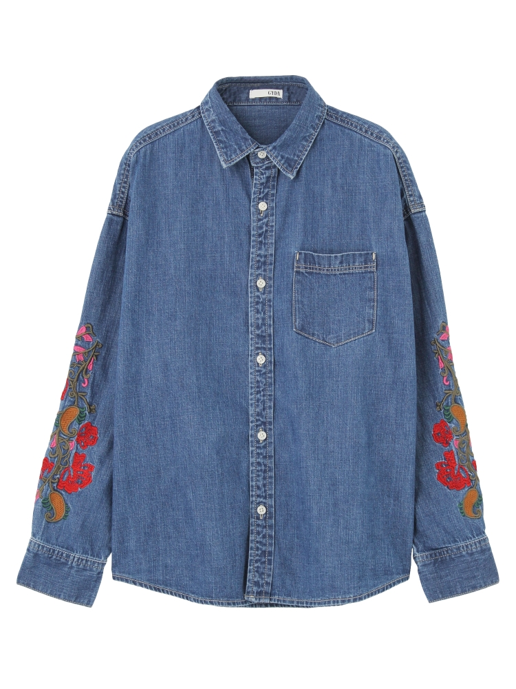 DENIM EMBROIDERY シャツ(ブルー-F)