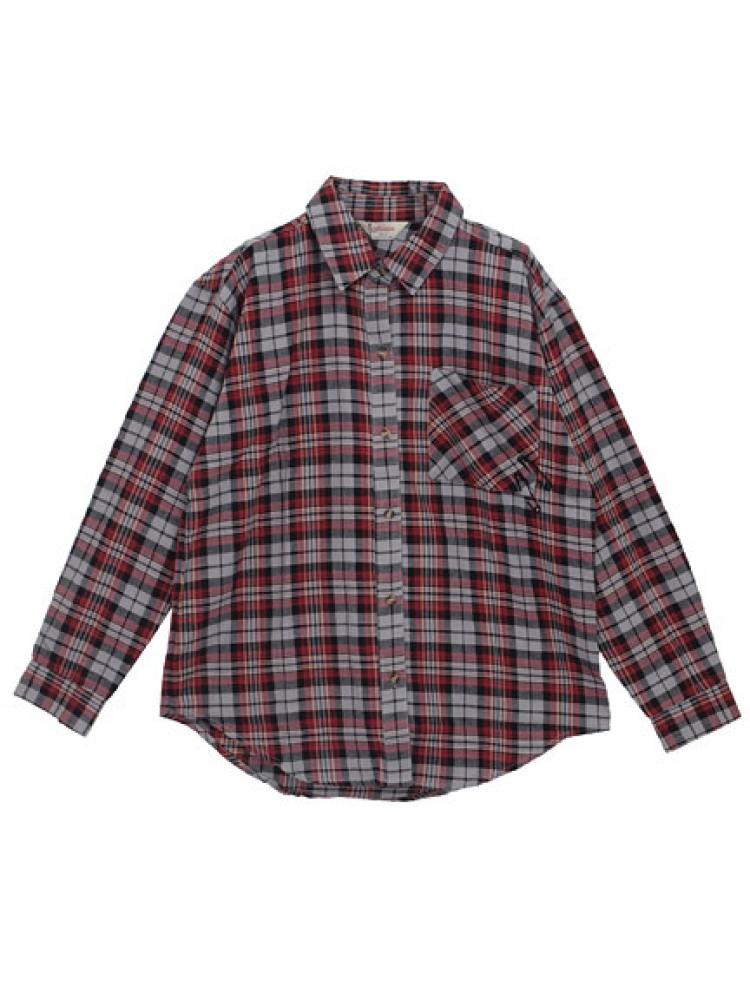 【CASUAL】 スタッズクロスチェックシャツ(グレー-M)