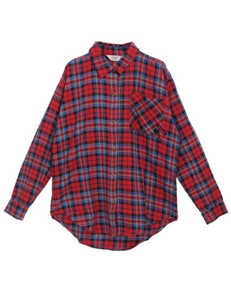 【CASUAL】 スタッズクロスチェックシャツ(レッド-M)