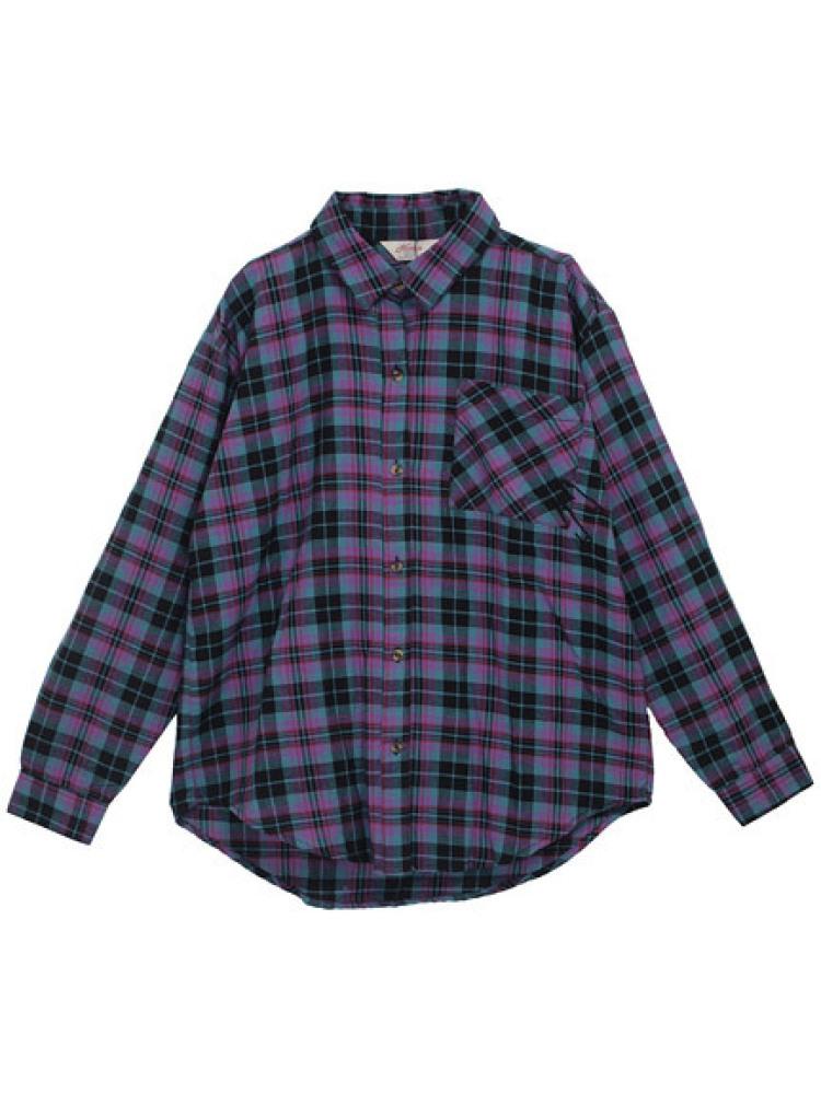 【CASUAL】 スタッズクロスチェックシャツ(グリーン-M)