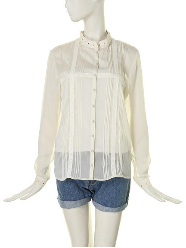【MODE CASUAL】ピンタックシャツ(オフホワイト-M)