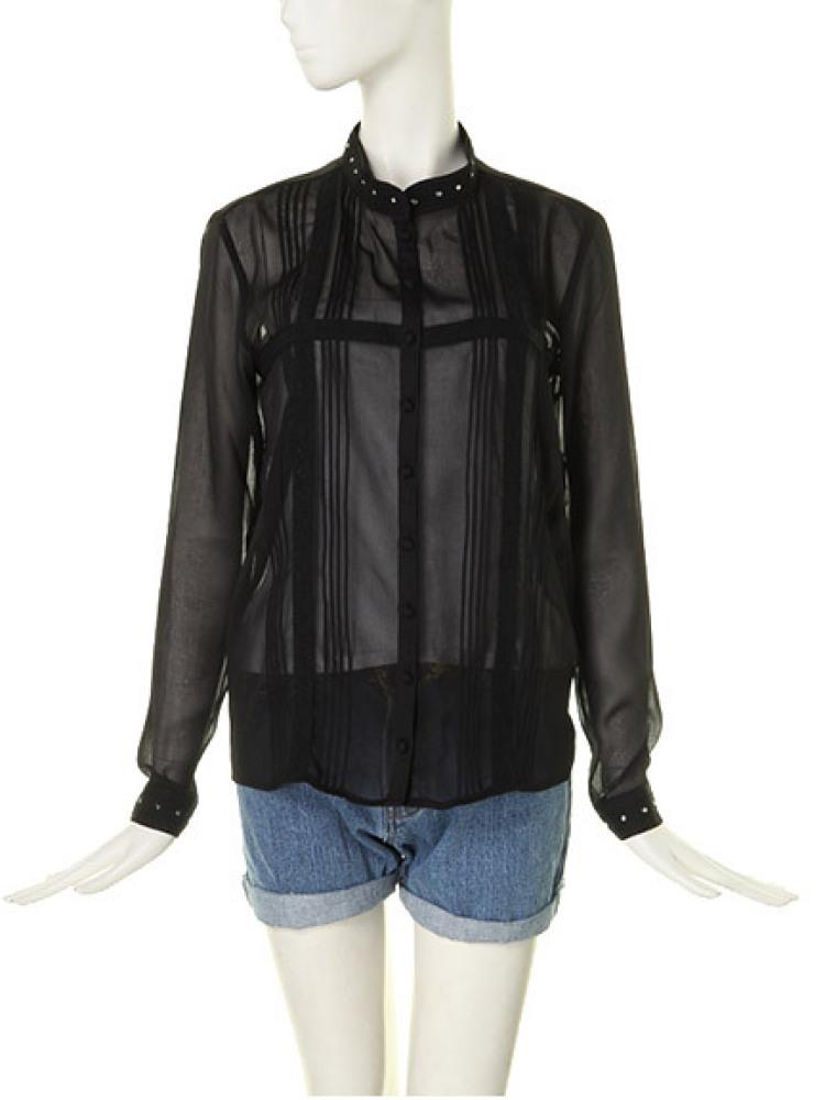 【MODE CASUAL】ピンタックシャツ(ブラック-M)