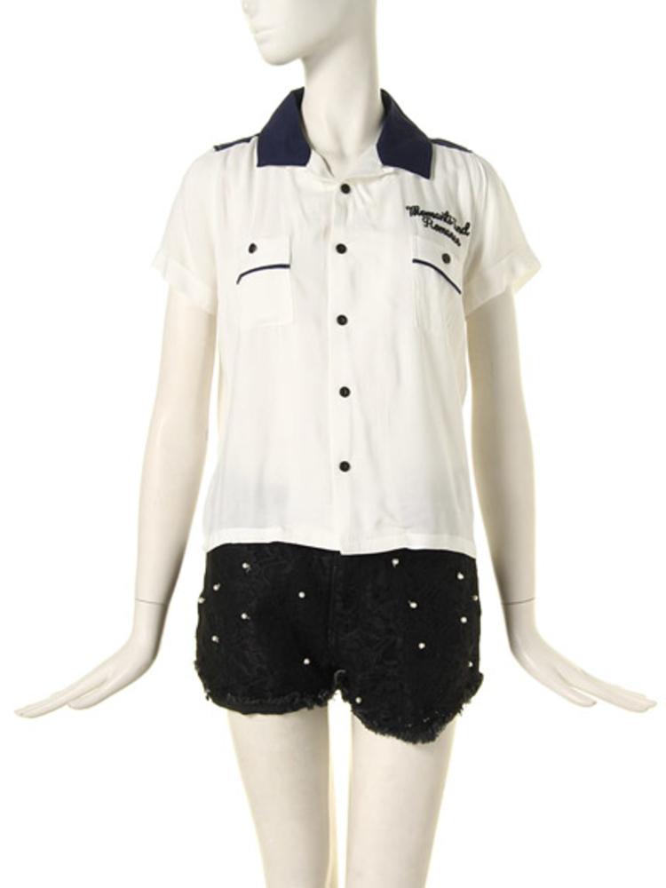 【CASUAL】ボーリングシャツ(オフホワイト-M)
