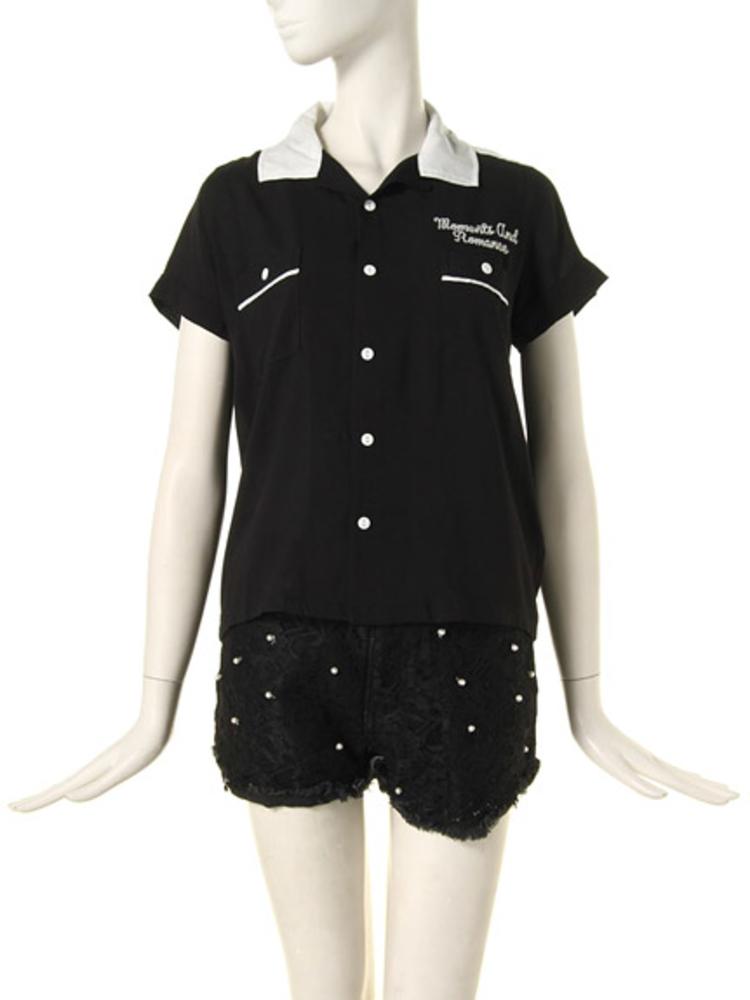 【CASUAL】ボーリングシャツ(ブラック-M)