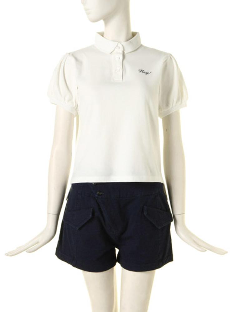 パフ袖ポロシャツ(オフホワイト-M)