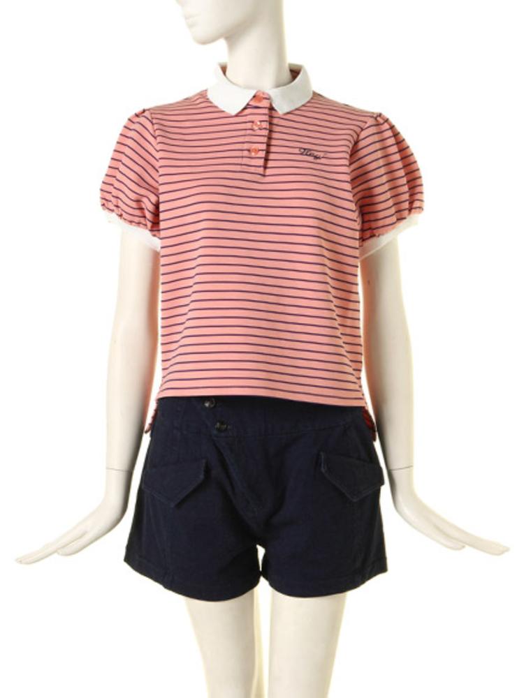 パフ袖ポロシャツ(ピンク-M)