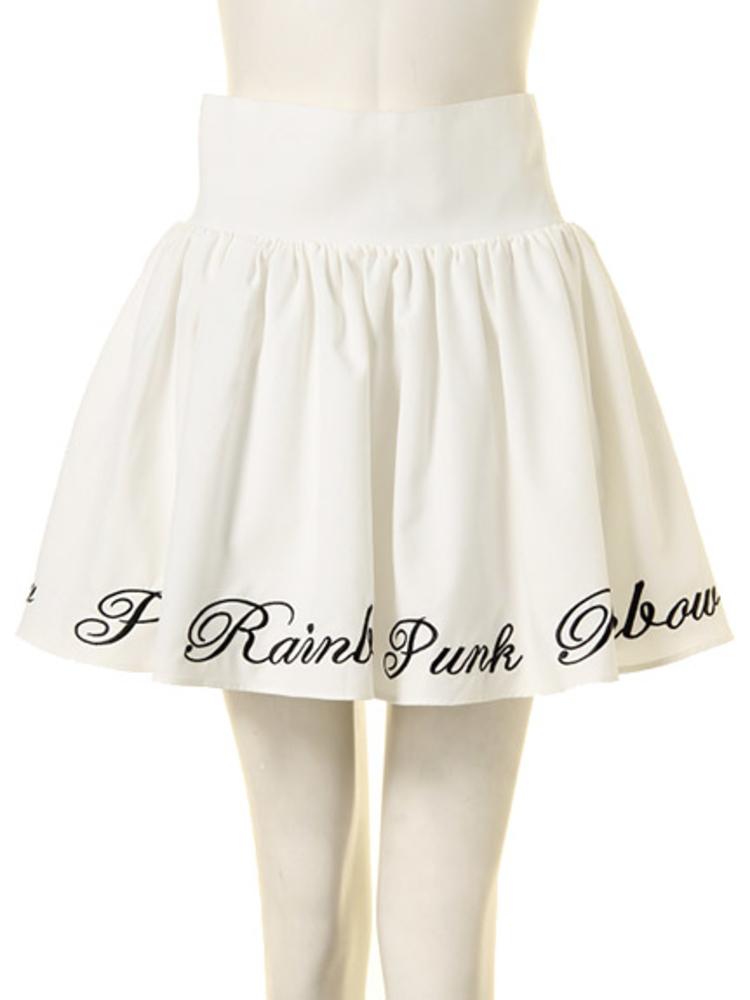 【GIRLY】RAINBOW PUNK ボリュームスカート(オフホワイト-M)