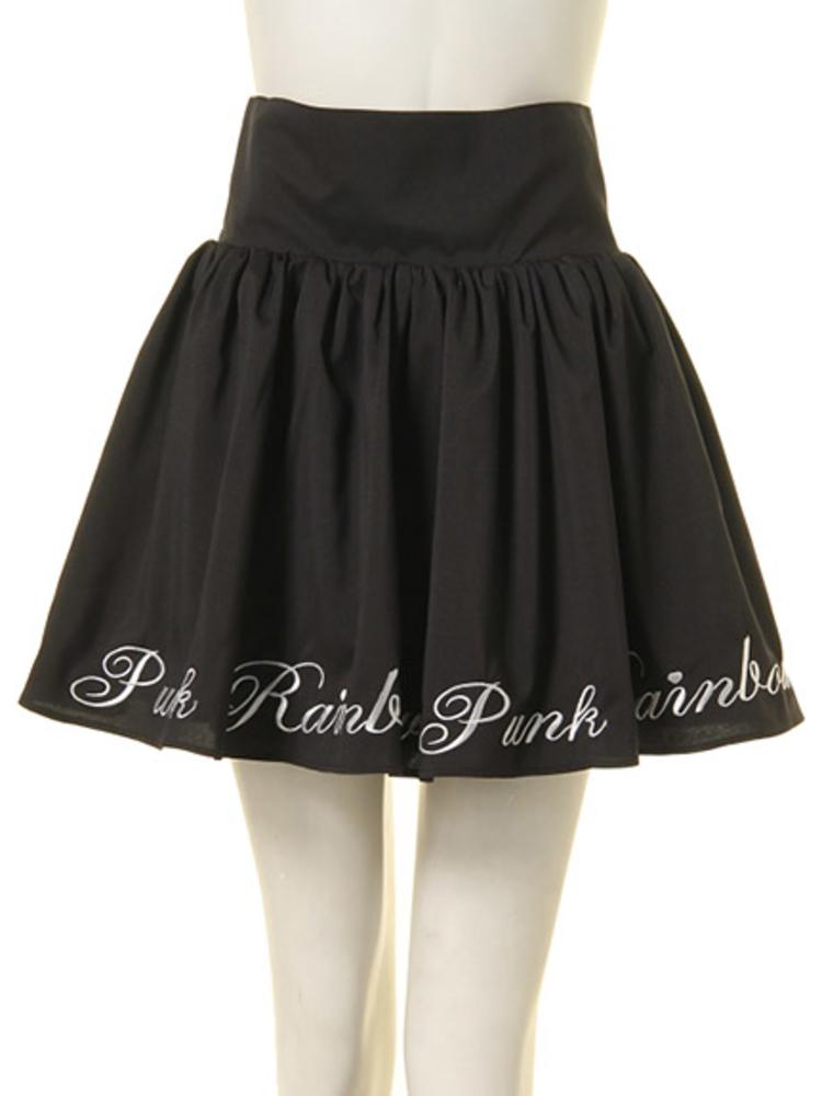【GIRLY】RAINBOW PUNK ボリュームスカート(ブラック-M)