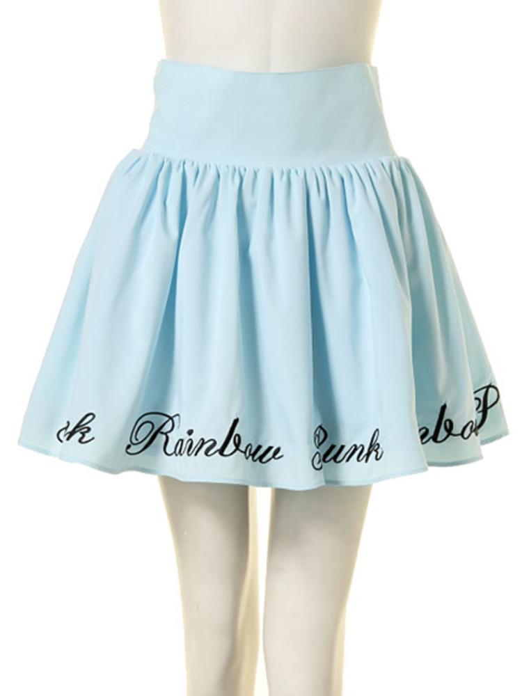 【GIRLY】RAINBOW PUNK ボリュームスカート(アイスブルー-M)